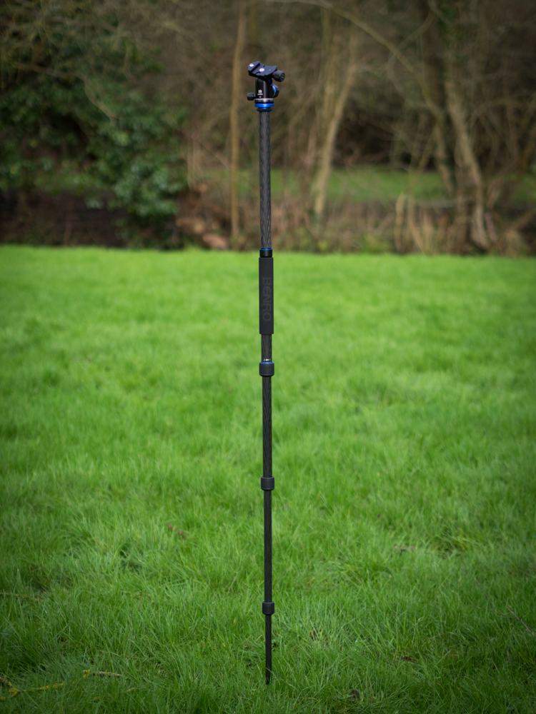 Benro FTA18C Travel Angel Tripod being used as a monopod