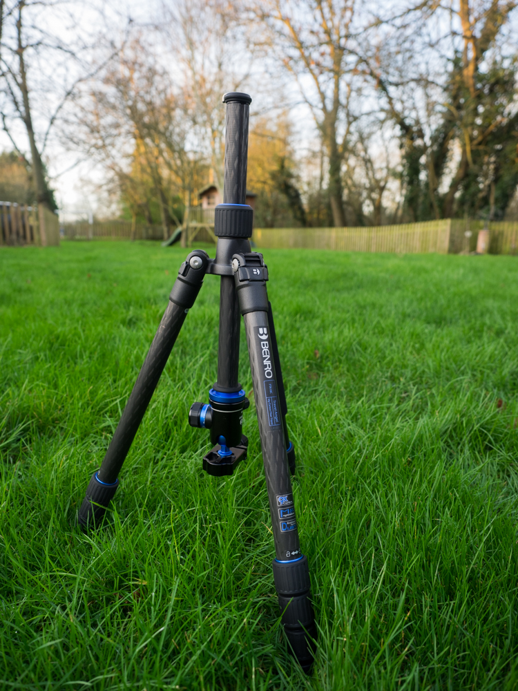 Benro Travel Angel Tripod with the centre pole reversed to allow it to get very close to the ground
