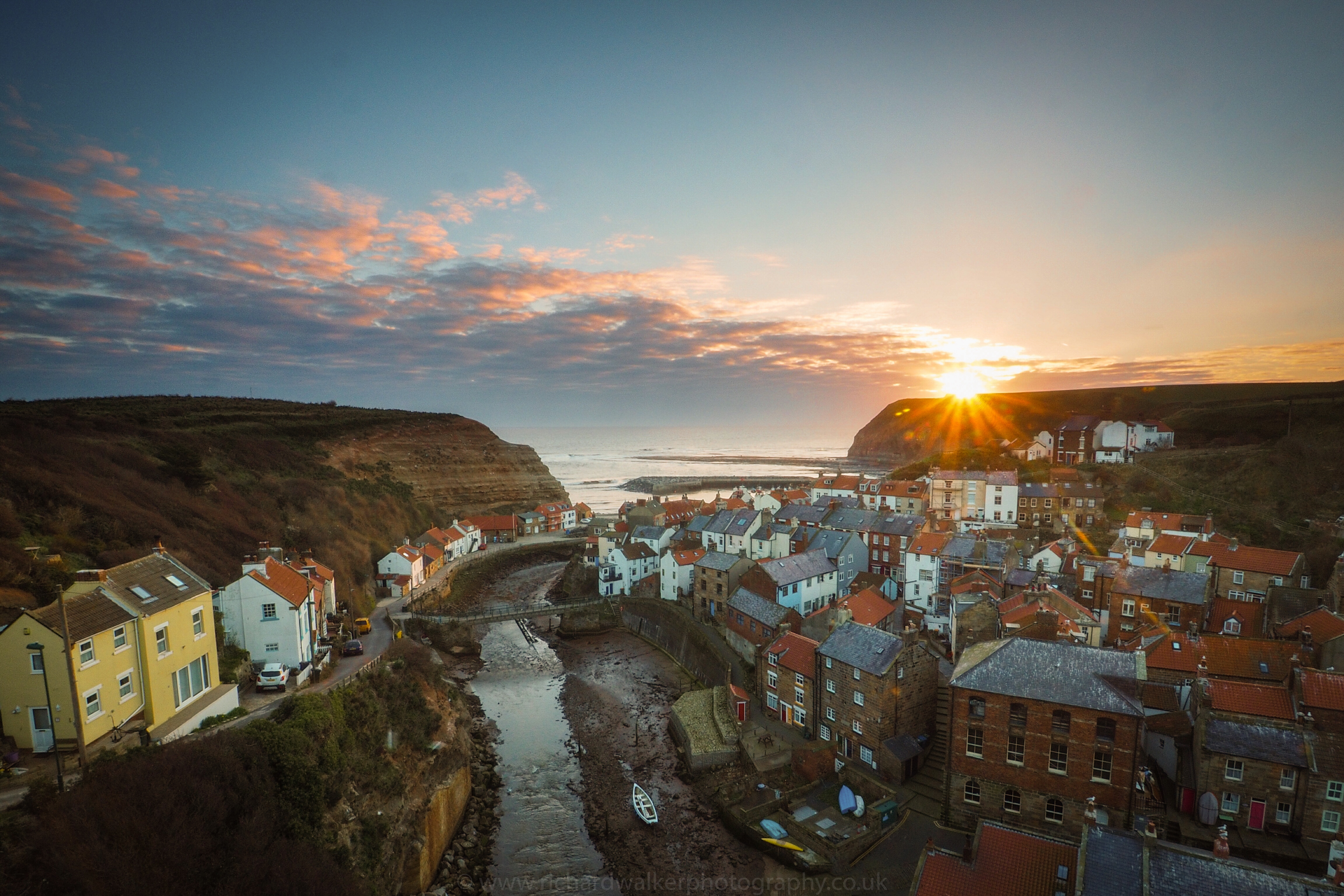 The sun rises over the seaside village of Staithes in North Yorkshire