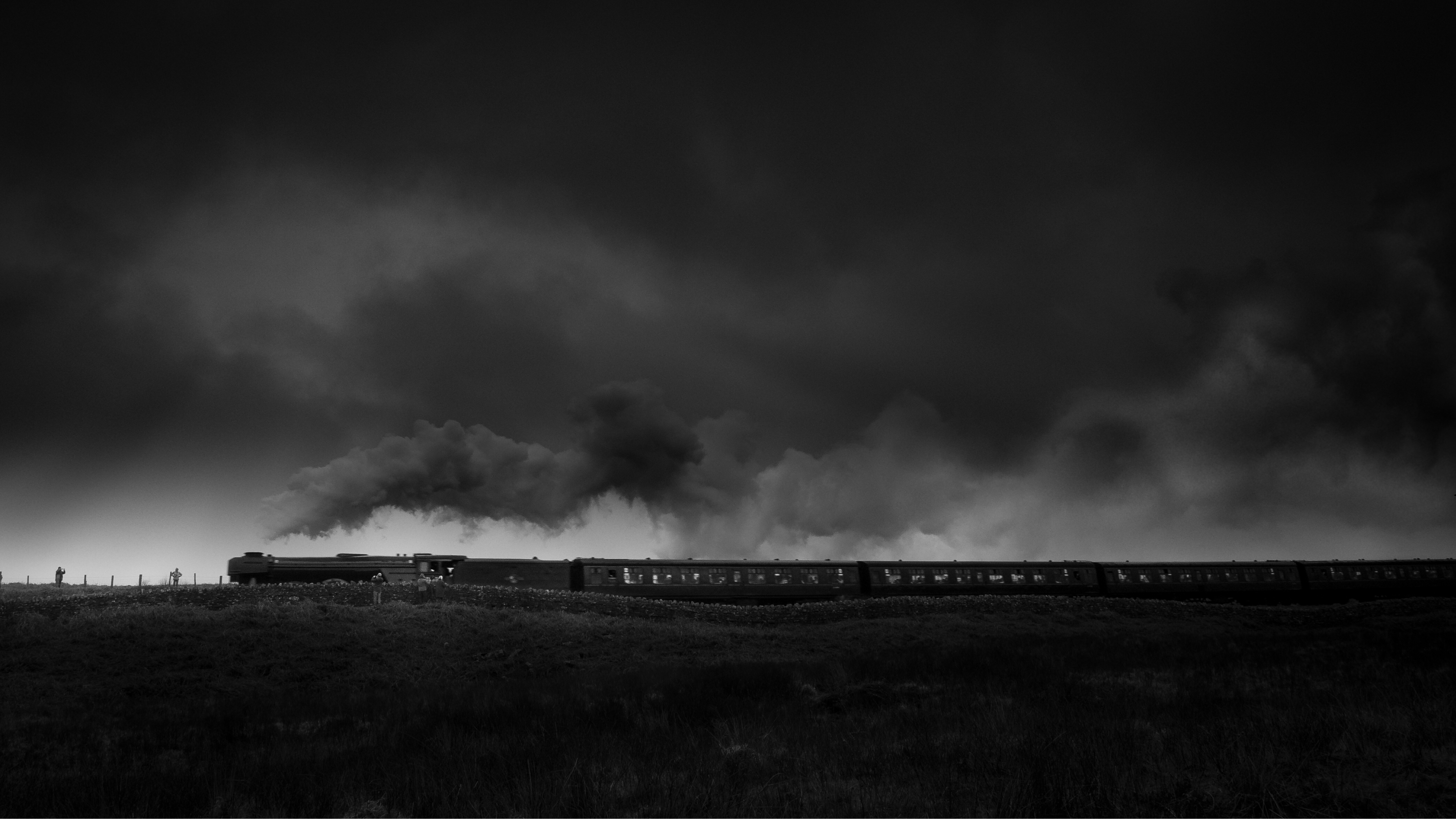 The Flying Scotsman in the North York Moors black and white image