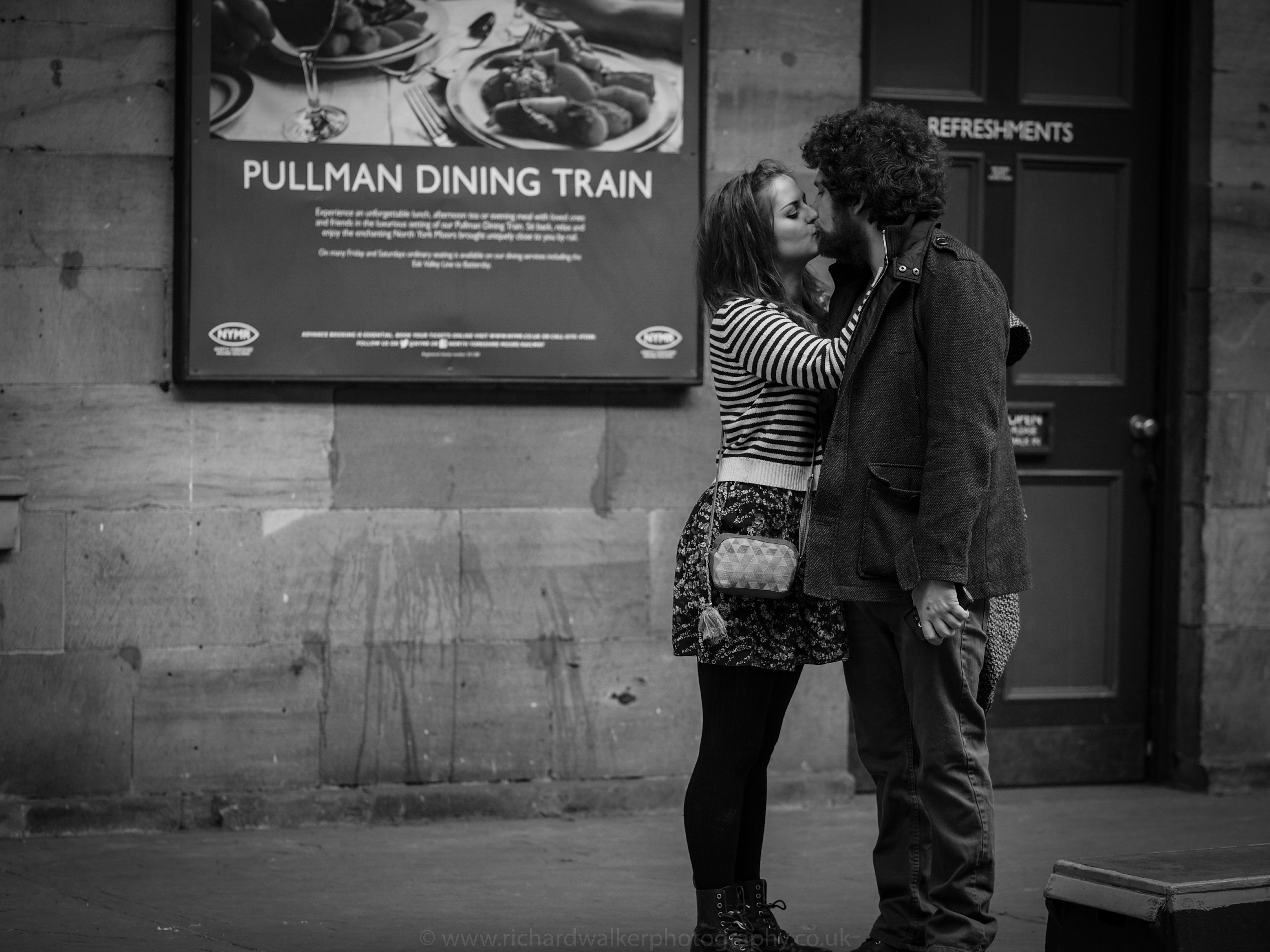 The Romance of Steam - A young couple kiss on the platform at Pickering Station