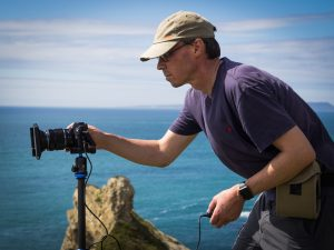 Award winning landscape photographer Richard Walker on location using his Olympus O-MD E-M5 MKii
