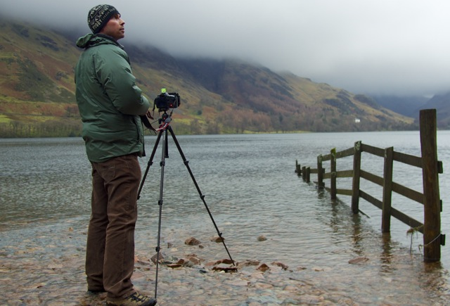Award winning photographer Richard Walker taking a long exposure shot at Buttermere in the Lake District
