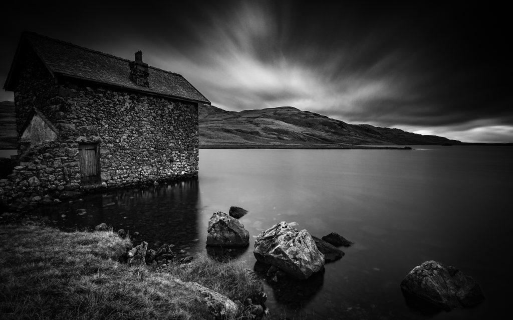 The old boathouse on Devoke Water, Lake District, UK